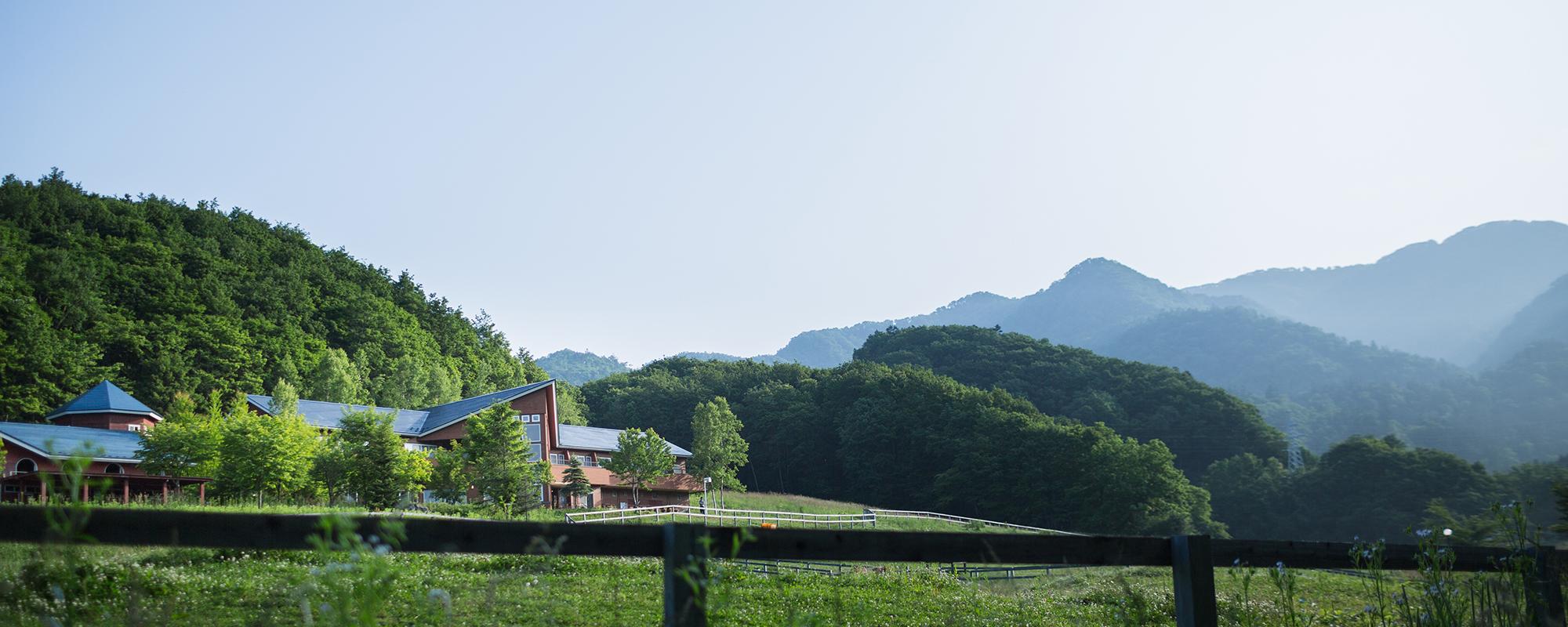 北海道、日高のナチュラルリゾート・ハイジア 草原と馬